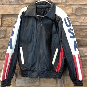USA American Flag Leather Jacket Military Bomber M